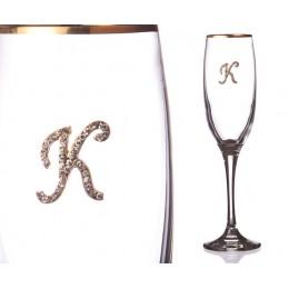 """Бокал для шампанского """"К"""" с золотой каймой"""