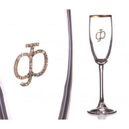 """Бокал для шампанского """"Ф"""" с золотой каймой 170 мл."""