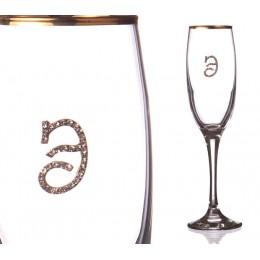 """Бокал д/шампанского """"Э"""" с золотой каймой 170 мл."""