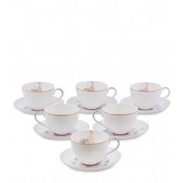 JK- 97 Чайный набор на 6 перс. ''Песня Мотылька'' (Canzone Falena Pavone)