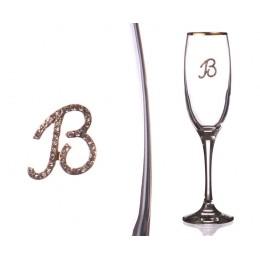 """Бокал для шампанского """"В"""" с золотой каймой 170 мл."""