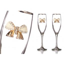 Набор бокалов для шампанского из 2 штук с серебрянной каймой 170 мл.