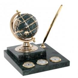 """Метеостанция на мраморной подставке с композицией """"Время"""", термометром, гигрометром, глобусом, ручко"""