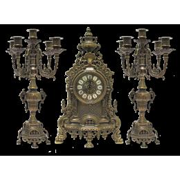 Антикварные каминные часы и 2 канделябра