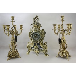 Каминные часы бронза с канделябрами Кассиопея