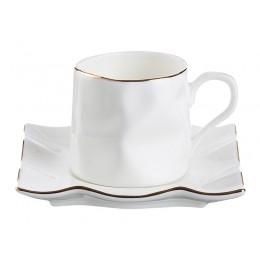 """Кофейный набор на 1 персону 2 пр.""""Белый с золотой каймой"""" 150 мл."""