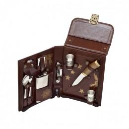 Набор в сумке-кейсе из натуральной кожи «Командир» (2 персоны)