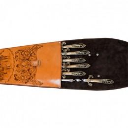 Шампура подарочные 6шт. в колчане из натуральной кожи