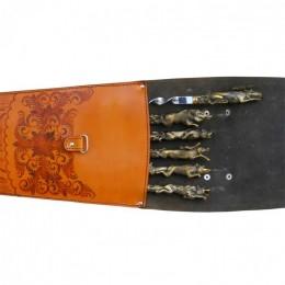 """Шампура подарочные в колчане из натуральной кожи """"Animals"""""""