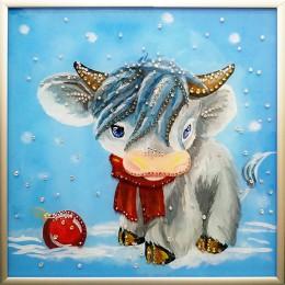 "Картина Swarovski ""Бычок под снегом"""