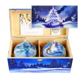 "Набор новогодних шариков с кристаллами Swarovski ""Новогодний лес"", d. 10см"