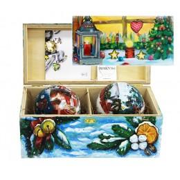 """Набор новогодних шариков с кристаллами Swarovski """"В предвкушении праздника"""", d. 10см"""