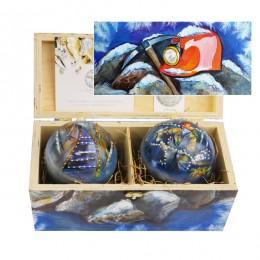 """Набор новогодних шариков с кристаллами Swarovski """"В предвкушении праздника Шахтеры"""", d. 10см"""