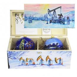 """Набор новогодних шариков с кристаллами Swarovski """"В предвкушении праздника Нефтяники"""""""
