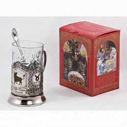 "Набор д/чая ""Телец"" (3 пр.)карт.коробка, хруст.стакан,гравировка в 4-х местах,ложка-нерж.грав."