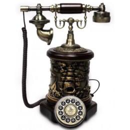 "Ретро телефон с барельефным декором ""Парусник"""