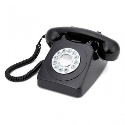 Телефон дисковый в стиле ретро GPO 746 Push Black