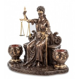 "Статуэтка с 2-мя свечами Veronese ""Фемида"" (bronze/gold)"