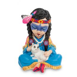"""Статуэтка Veronese в стиле Фэнтези """"Индейская девочка с волчонком"""" (color)"""