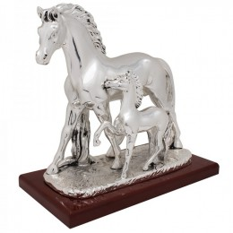"""Статуэтка Exetera Argenti """"Лошадь с жеребёнком"""", посеребрение"""
