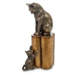 """Статуэтка Veronese """"Кошка с котенком - воспитание"""" (bronze)"""