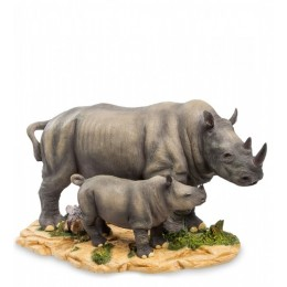 """Статуэтка Veronese """"Носорог с детенышем"""" (color)"""