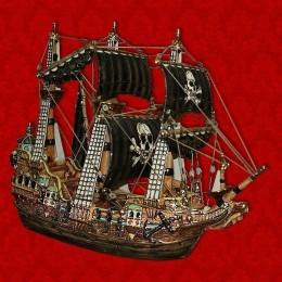 """Подарочный штоф """"Корабль"""", цветной с золотом с пиратскими парусами."""