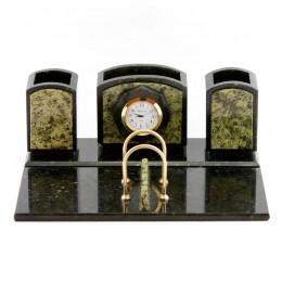 """Настольный письменный набор из камня и бронзы с часами """"Босфор"""" дл.26см"""