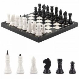 Шахматы из мрамора и змеевика  40x40см