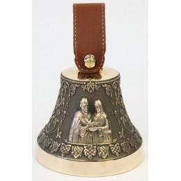 """Колокол бронзовый """"Св. Петр и Феврония"""" (свадебный колокол) d12 см"""