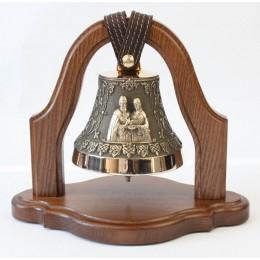 """Колокол бронзовый на подставке """"Св. Петр и Феврония"""" (свадебный колокол) d12 см"""