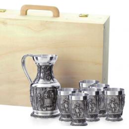 """Подарочный набор для вина из олова в деревянном кейсе """"Weinlese"""" на 6 персон"""