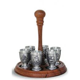 """Подарочный набор для водки из олова на деревянной подставке """"La Paloma"""" выс.20см"""