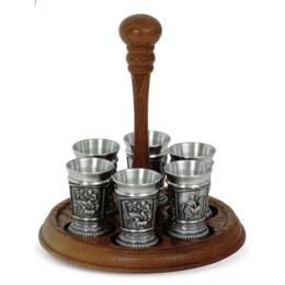 """Подарочный набор для водки из олова на деревянной подставке """"Meisterwerke"""" выс.20см"""