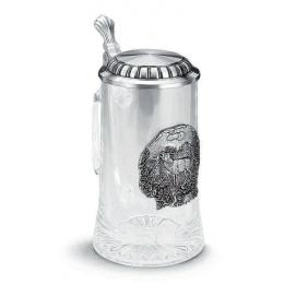 """Коллекционная пивная кружка с оловянным декором """"Hirsch"""" выс.18см"""