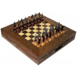 """Шахматы """"Великая Отечественная Война"""" исторические с фигурами из цинкового сплава покрашенными в полу коллекционном качестве"""