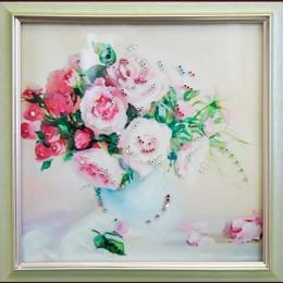 """Картина Swarovski """"Чайные розы"""""""