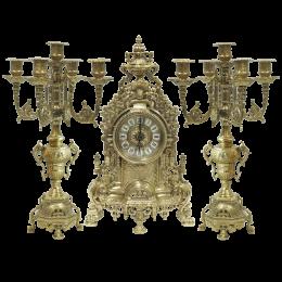 Бронзовые антикварные каминные часы 2 канделябра