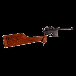Макет пистолета Маузер с дер. накладками на рукоять и дер. прикладом-кабурой