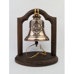 """Колокол бронзовый на подставке """"Святой вмч. Георгий Победоносец"""" d12см"""