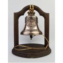 """Колокол бронзовый на подставке """"Святой преподобный Алексий, человек Божий"""" d12 см"""