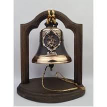 """Колокол бронзовый на подставке """"Георгий Победоносец"""" d12 см"""