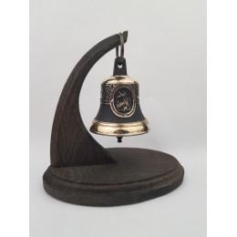 """Колокол бронзовый на подставке """"Святой вмч. Георгий Победоносец"""" d7,5см"""