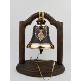 """Колокол бронзовый на подставке """"Святой великомученик и целитель Пантелеймон"""" d12см"""