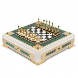 """Шахматный ларец из натурального камня """"Дворяне"""" (златоустовская гравюра) 52х52см"""