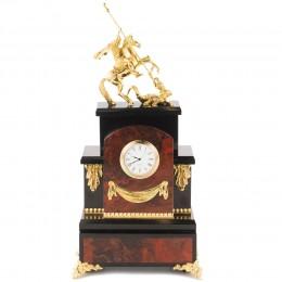 """Каминные часы """"Георгий Победоносец"""" яшма 185х125х380мм"""