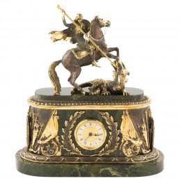 """Каминные часы """"Георгий Победоносец"""" нефрит 315х140х350мм"""