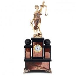 """Каминные часы """"Фемида"""" яшма бронза 170х110х430мм"""