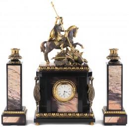 """Каминные часы с подсвечниками """"Георгий Победоносец"""""""