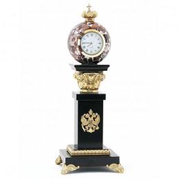 """Настольные часы """"Держава"""" с шаром камень креноид 100х100х280мм"""